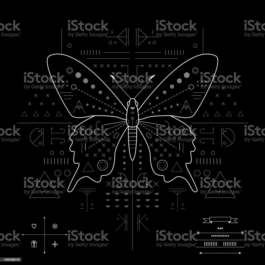 Butterfly. Geometric composition on a black background royalty-free butterfly geometric composition on a black background stock vector art & more images of abstract