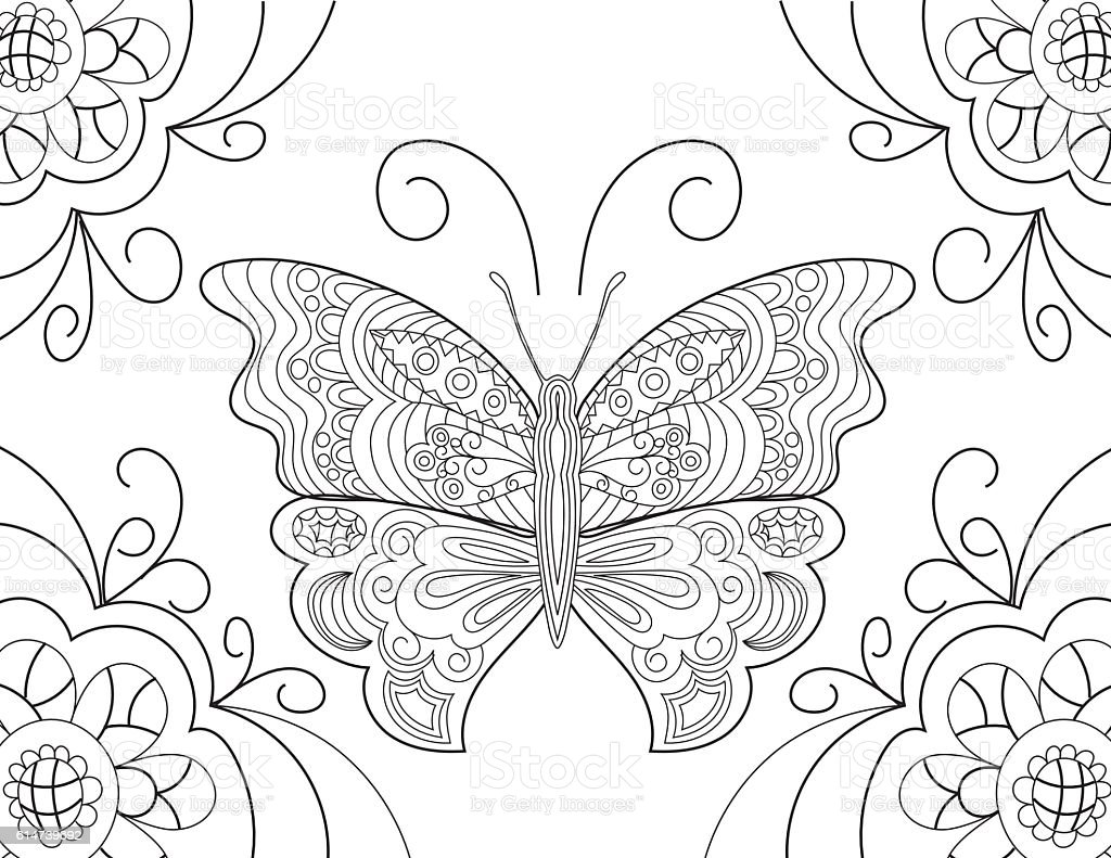 Butterfly Hand Drawn Adult Coloring Book Page Royalty Free