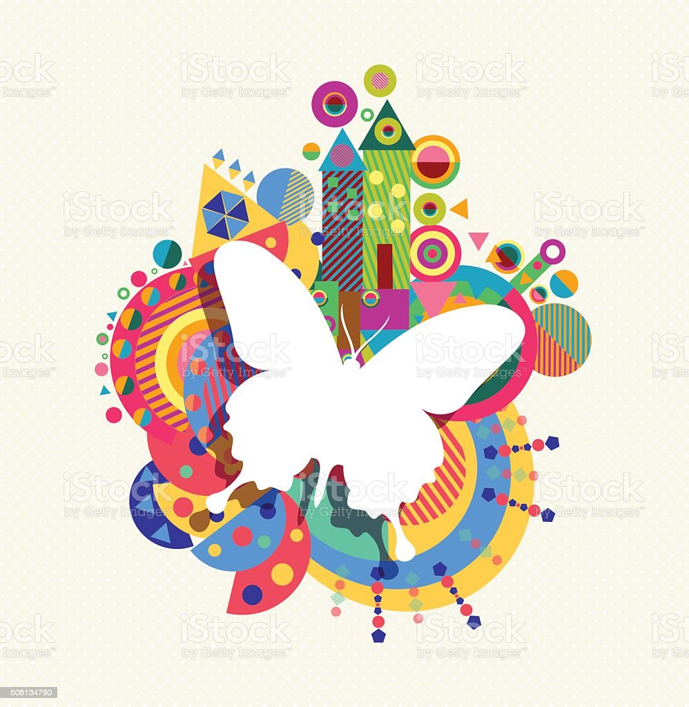 Butterfly icon concept spring color shape vector art illustration