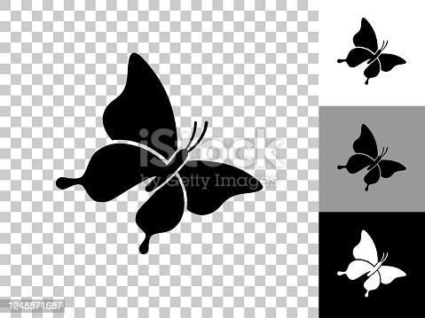 istock Butterfly Icon on Checkerboard Transparent Background 1248871687