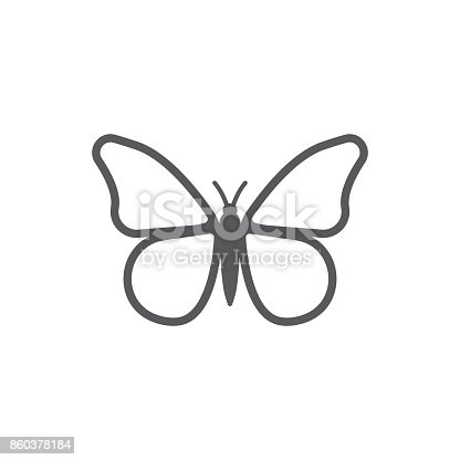 Butterfly icon on the white background