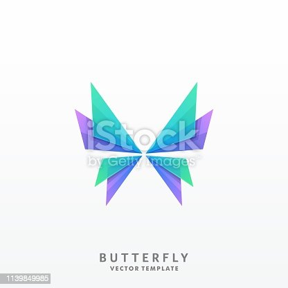 Abstract Butterfly Illustration Vector Template. Suitable for Creative Industry, Multimedia, entertainment, Educations, Shop, and any related business
