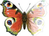 Butterfly Inachis Io,. Watercolor imitation.