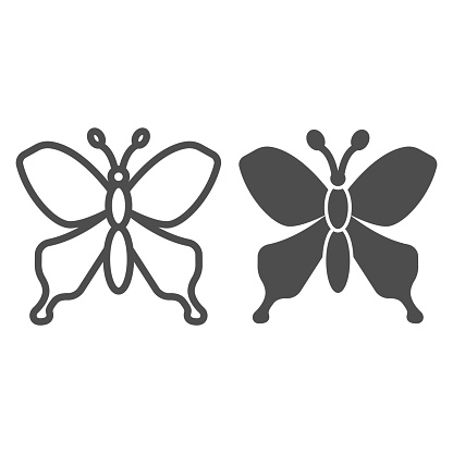 Butterfly line and solid icon, Insects concept, beautiful flying insect sign on white background, Butterfly silhouette icon in outline style for mobile concept and web design. Vector graphics.