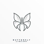 Butterfly Line Art Illustration Vector Template. Suitable for Creative Industry, Multimedia, entertainment, Educations, Shop, and any related business.