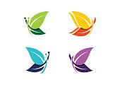 Butterfly logotype, beautiful abstract butterflies set of symbol icon design vector