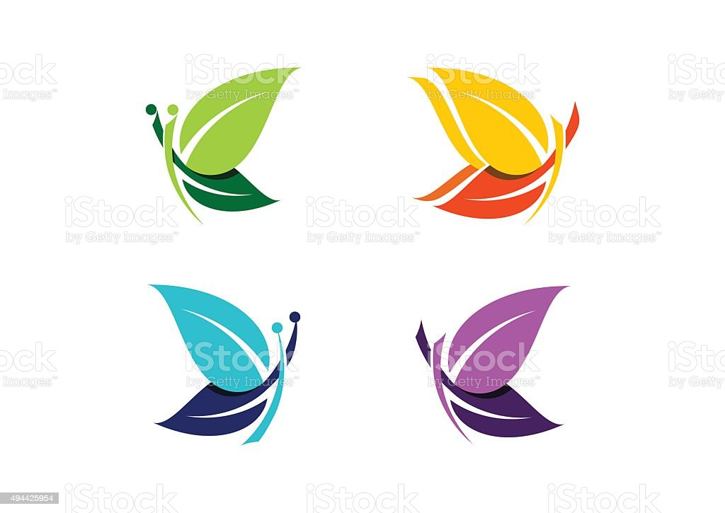Butterfly logo, beautiful abstract butterflies symbol icon design vector vector art illustration