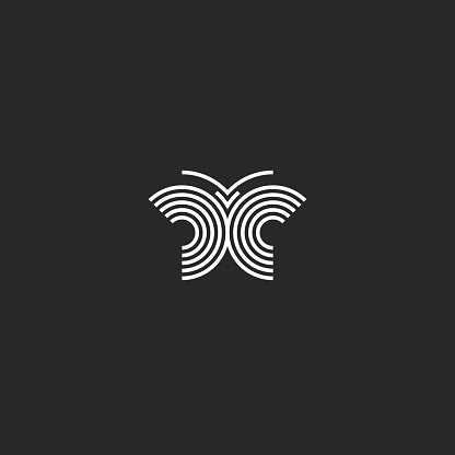 Butterfly logo mockup, insect tattoo mascot, black and white linear simple t-shirt print emblem