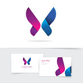 Butterfly logo template vector with purple wings design, abstract gradient butterfly in blue and violet colors, beautiful modern vector logotype icon for business card, brand or identity