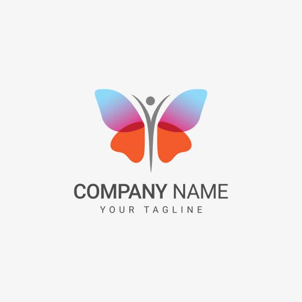 ilustrações, clipart, desenhos animados e ícones de logotipo da borboleta - borboleta