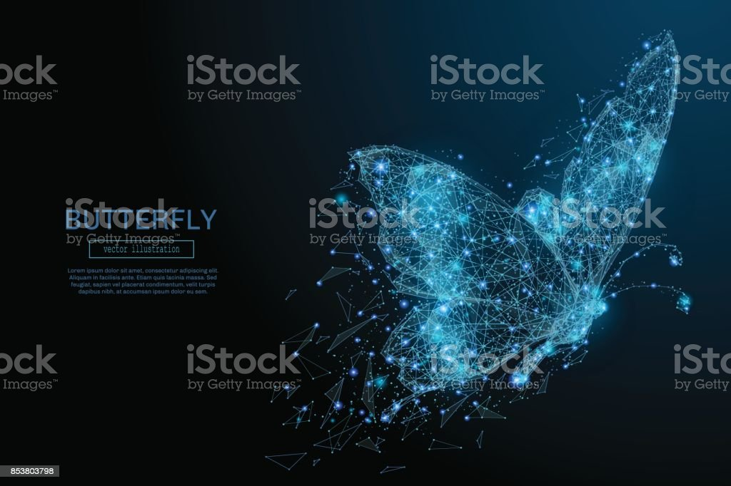 Butterfly low poly blue royalty-free butterfly low poly blue stock illustration - download image now