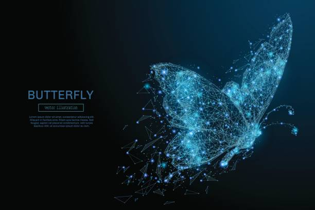 butterfly low poly blue - butterfly stock illustrations
