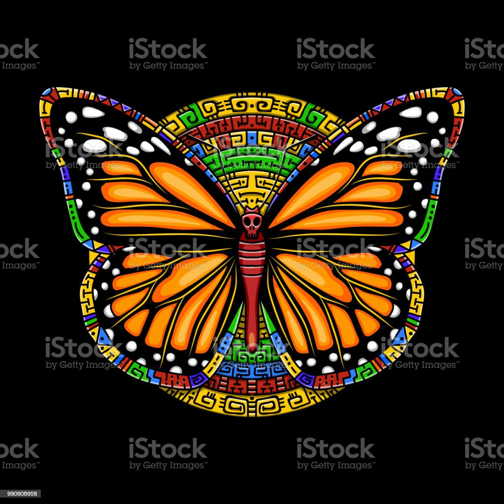 aaa3a2150 Butterfly machaon in Mexican style.Vector beautiful swallowtail boho t-shirt  design. Mystical esoteric symbol of freedom, travel, tourism. -  Illustration .