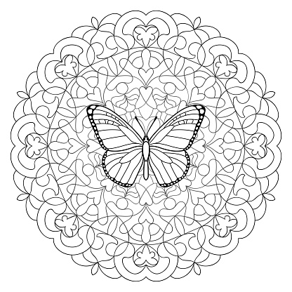 Butterfly Mandala Coloring Page Stock Illustration Download