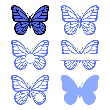 Butterfly monogram. Vector insect silhouette. Template for laser, paper cutting.