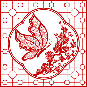 Butterfly Nectar Chinese Paper-cut Art Frame