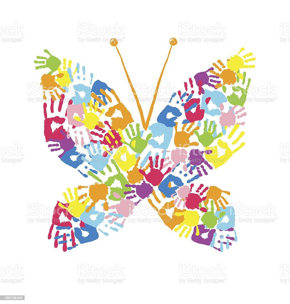 Schmetterling Der Handprints Stock Vektor Art Und Mehr Bilder Von