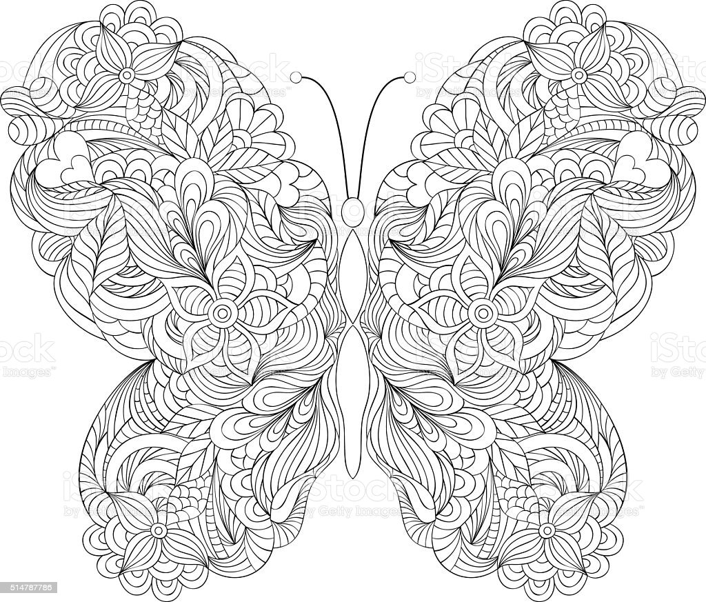 butterfly on white background vector art illustration