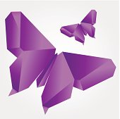 Illustration of vector origami butterfly.