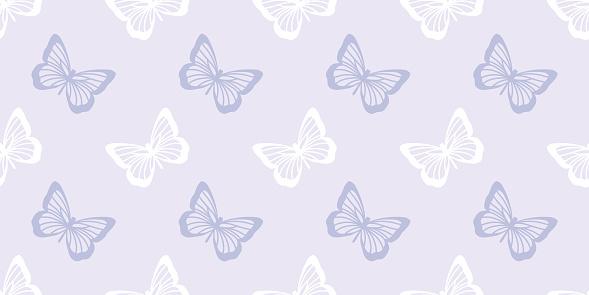 Butterfly seamless repeat pattern design, purple