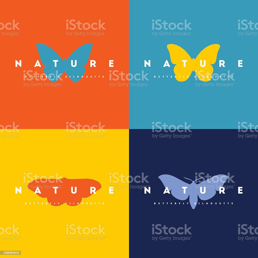 Butterfly. Set of colorful design elements vector art illustration