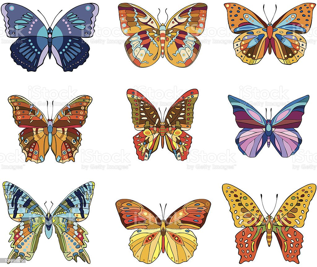 butterfly set royalty-free stock vector art