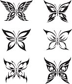 Butterfly set. Six illustrations