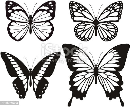 Butterfly silhouette icons set.