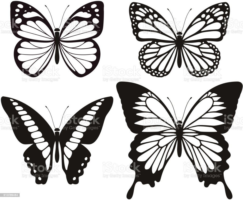 Butterfly silhouette icons set. vector art illustration
