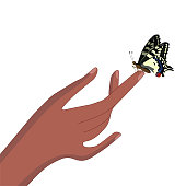 A butterfly sits on a finger. Yellow Swallowtail. Isolate on white background. Vector image.