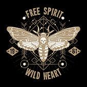 Occult Tattoo Sketch Poster. Butterfly Skull Hand Drawn Tattoo. Magic Modern Tattoo Vector Illustration. Magic Occult Tattoo Background. Magic Occult Tattoo Design.