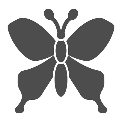 Butterfly solid icon, Insects concept, beautiful flying insect sign on white background, Butterfly silhouette icon in glyph style for mobile concept and web design. Vector graphics.
