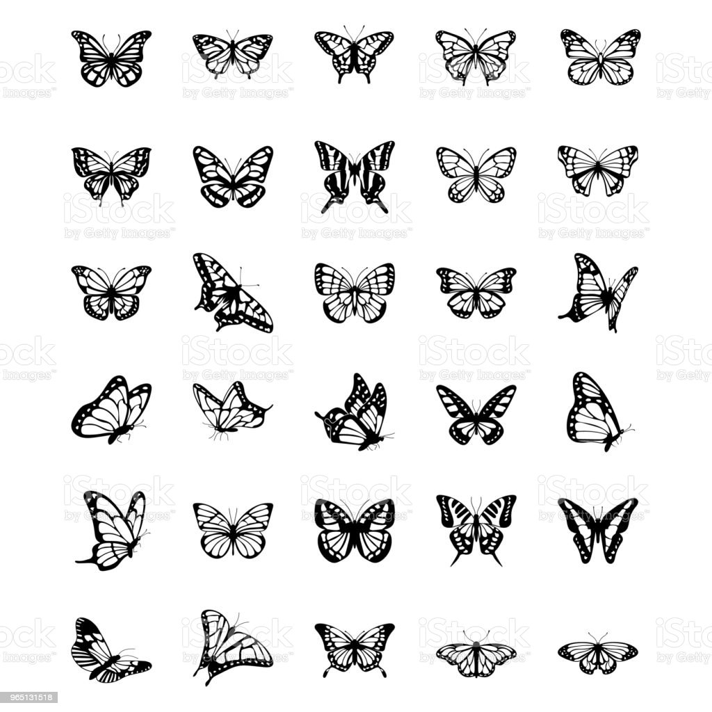 Schmetterling solide Vector Icons Set – Vektorgrafik