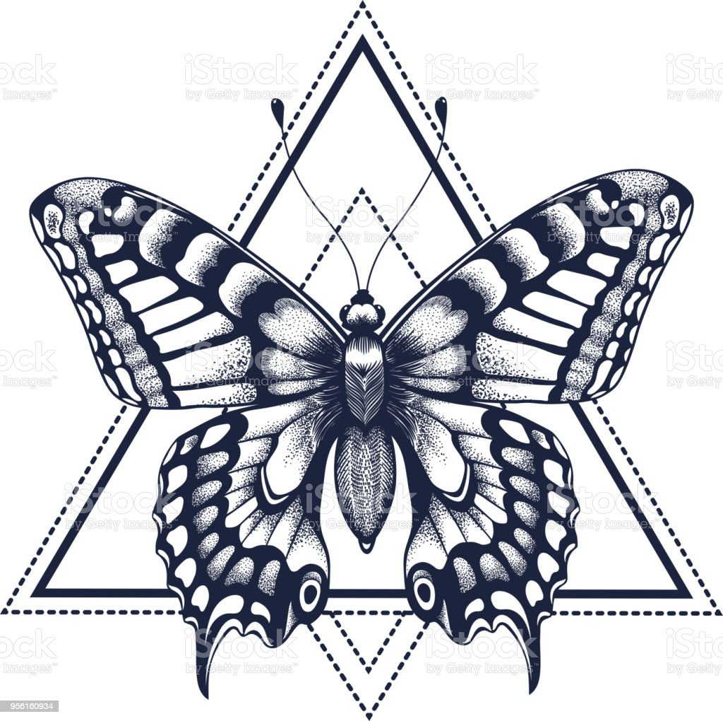 Tatouage Papillon Dotwork Tattoo Arts Graphiques Papillon En