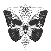 Butterfly tattoo illustration in vector