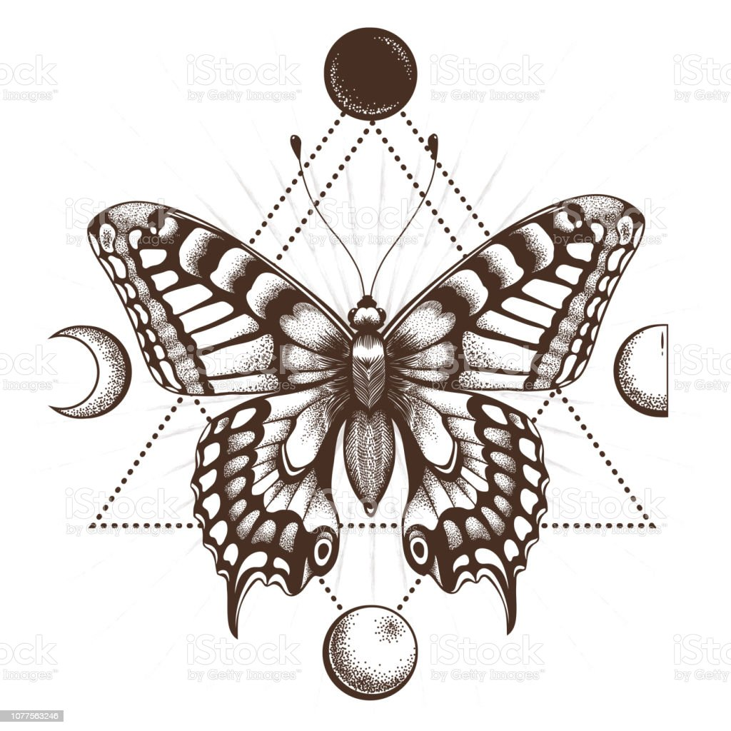 Butterfly Tattoo In Triangle Moon Phases Stock Illustration Download Image Now Istock