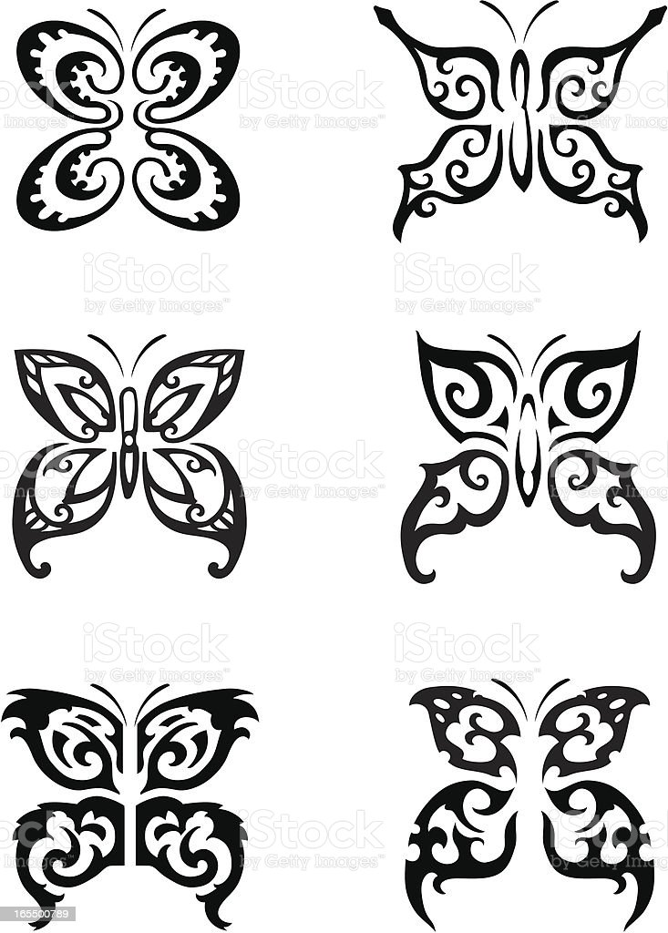 Butterfly Tattoo Series royalty-free stock vector art
