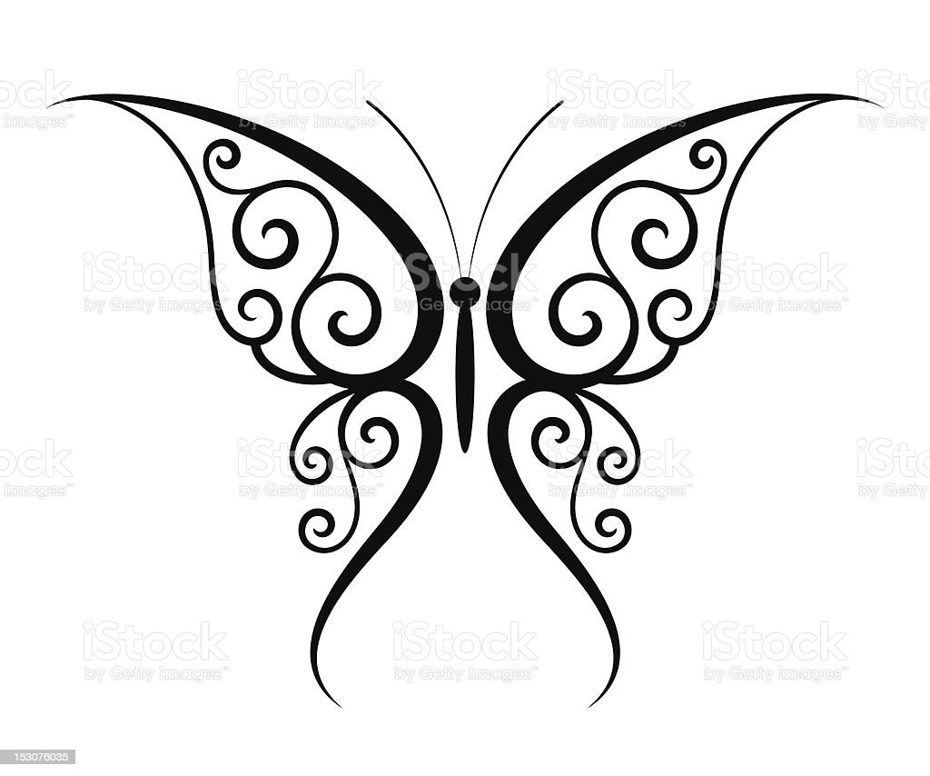 Line Drawing Butterfly Tattoo : Butterfly tattoo stock vector art more images of animal