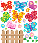 Butterfly theme collection 2 - vector illustration.