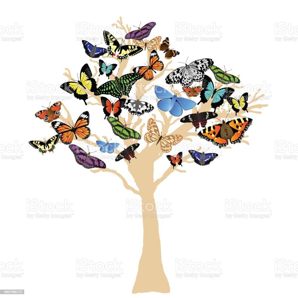 Butterfly Tree Silhouette – Vektorgrafik