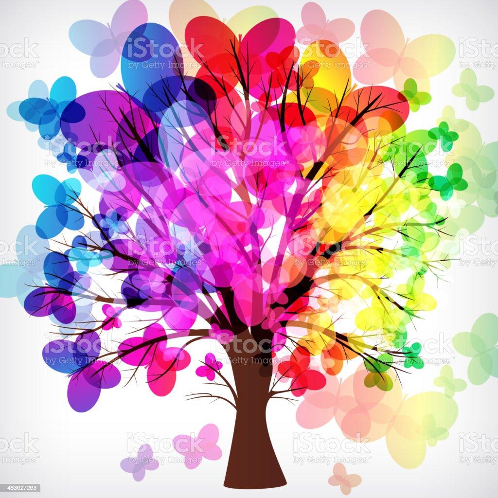 Butterfly Tree vector art illustration