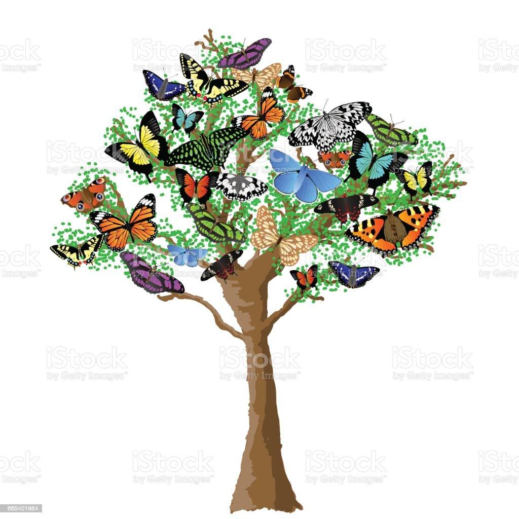 Schmetterling Baum – Vektorgrafik
