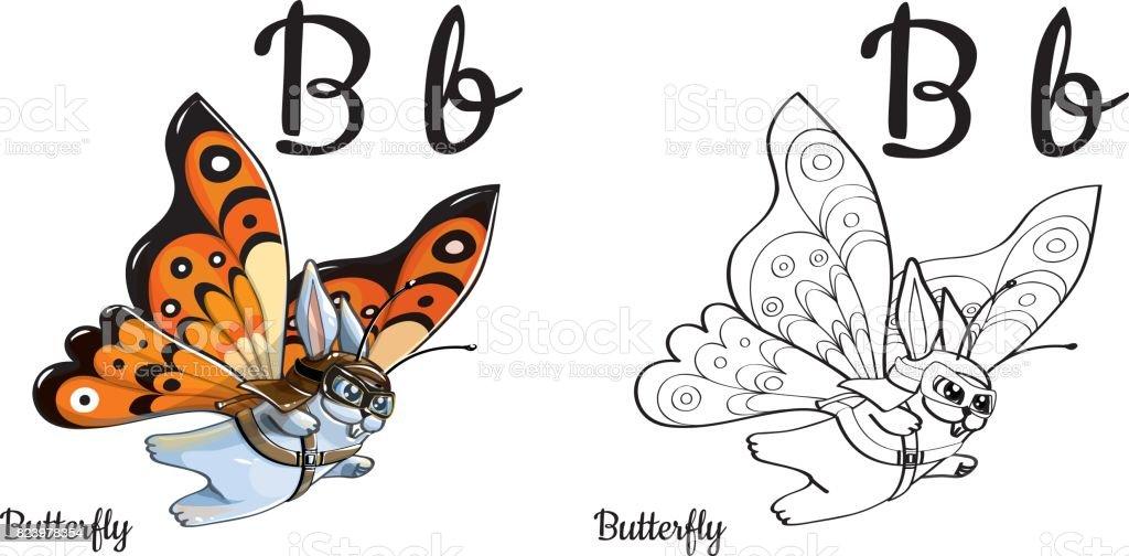 Ilustración de Mariposa Letra Del Alfabeto Vector B Página Para ...