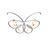 An elegant butterfly drawn in a single continuous line. Vector illustration on white background.