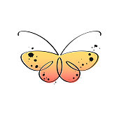 Stylized elegant butterfly with ink spots and splashes.