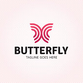 Vector butterfly logo design template. Graphic insect logotype, sign and symbol. Colorful fly label illustration isolated on background. Modern circle shape badge for beauty salon, spa
