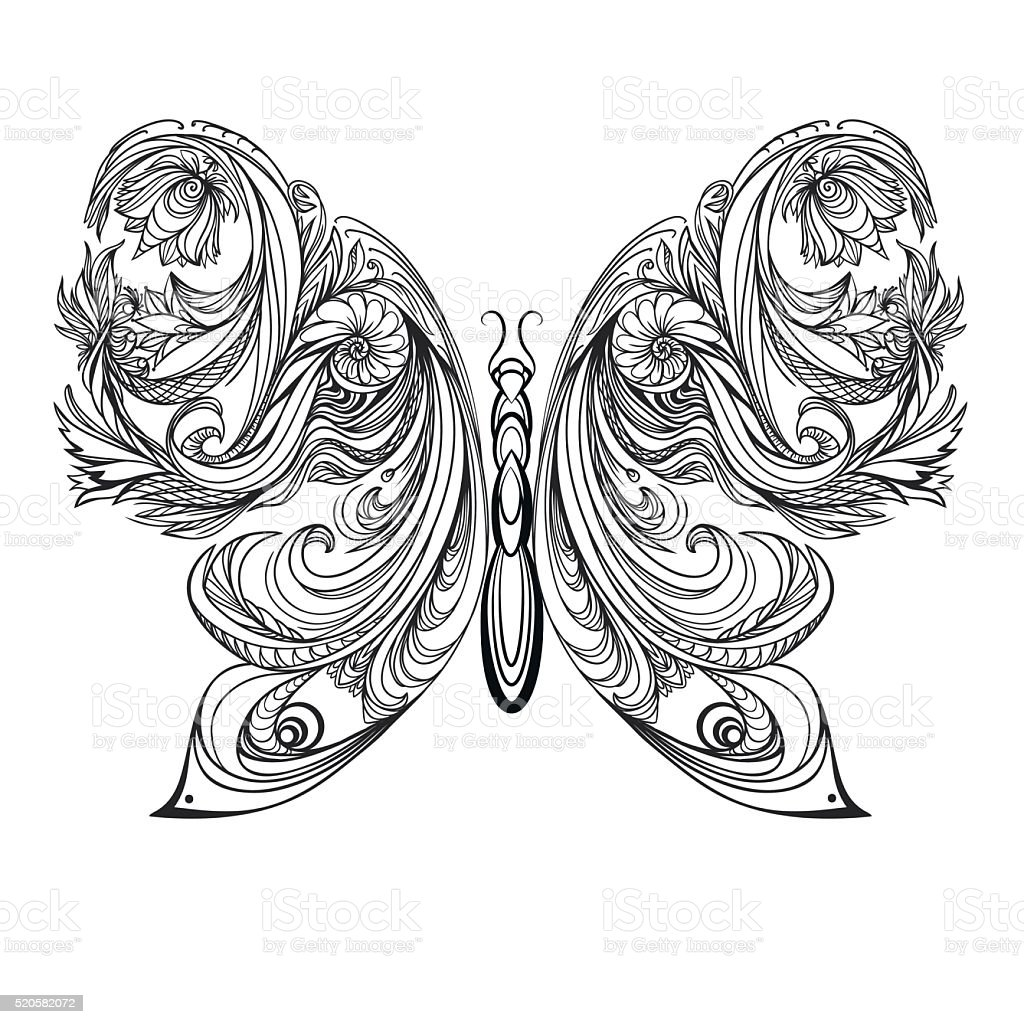 b0c50c3483c6a Butterfly. Vintage decorative elements tattoo. vector illustration. royalty-free  butterfly vintage decorative