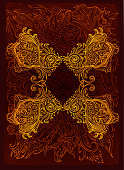 pen and ink decorative motif composition