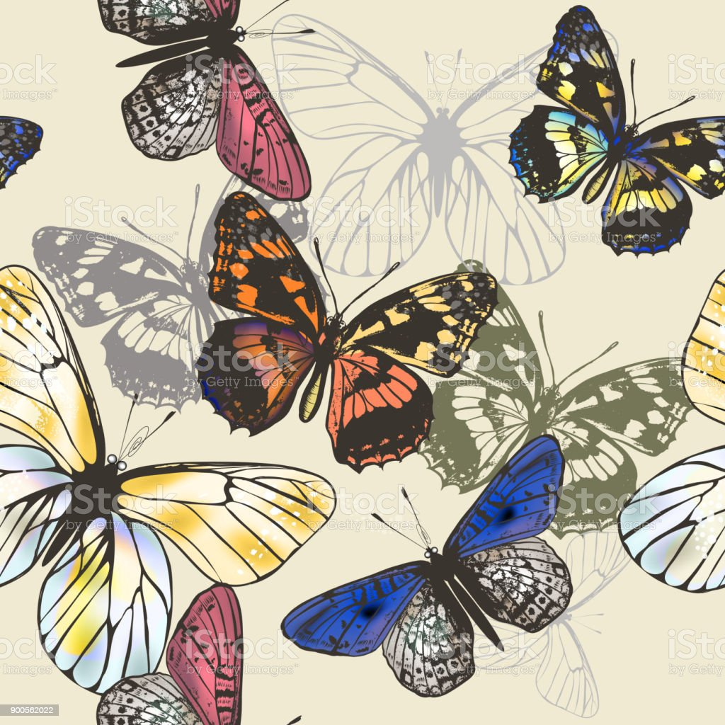 Butterfly Wallpaper Pattern With Colorful Butterflies Stock