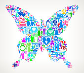 Butterfly Wedding Love and Marriage. The main object of this royalty free illustration is the composed of colorful vector icon pattern. These color wedding and love icons vary in size and form a seamless composition. The icons are white in color. This illustration is conceptual and ideal for love, wedding, marriage and relationship graphics. Each icon can be used independently from the background set.